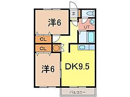 エーコーパティオス 1階2DKの間取り