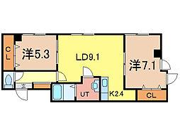 北海道旭川市三条通15丁目の賃貸マンションの間取り
