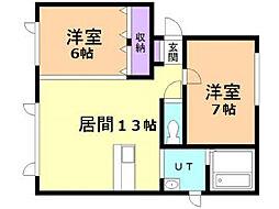 エコワンハイツ3.3[3階]の間取り