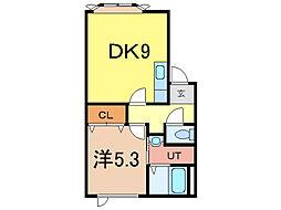 ドレクセル・ヒル 1階1DKの間取り