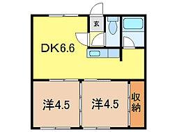 ライフイースト1・3[2階]の間取り