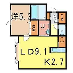 ノヴェル3・13B[1階]の間取り