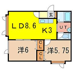 シェソワ1・7[1階]の間取り