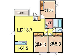 newRELA 1・22[1階]の間取り
