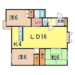 メープルハイツII[1階]の間取り