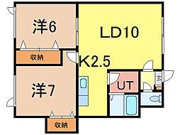 神楽レジデンス[2階]の間取り