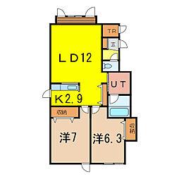 ベル9−21 A棟[2階]の間取り