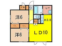 Oasis Court320A[1階]の間取り