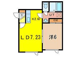 TREASURE HOUSE 2階1DKの間取り