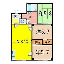 パレス3.25[3階]の間取り