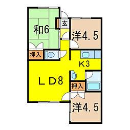 ポテトの部屋No.1[1階]の間取り