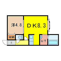 ノヴェル神居2.4 C[2階]の間取り