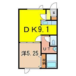 ポポロハイツ B[1階]の間取り