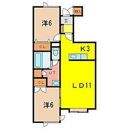 koutturB棟 1階2LDKの間取り