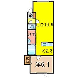 ゼロワンウエスト[2階]の間取り