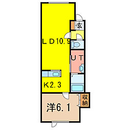 ゼロワンウエスト[1階]の間取り