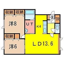 ノヴェル末広3・8B[1階]の間取り