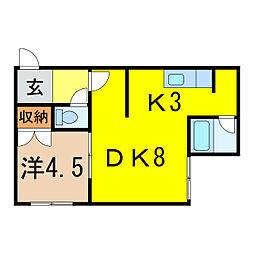 樋口マンションD[2階]の間取り