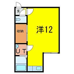 コートプラネットA・B 2階ワンルームの間取り