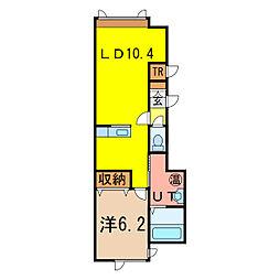 ラ・トルチェ 1階1LDKの間取り