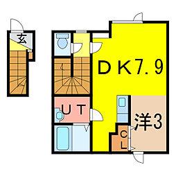 北海道旭川市二条通1丁目の賃貸アパートの間取り