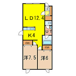コスモスA EAST5.6[2階]の間取り