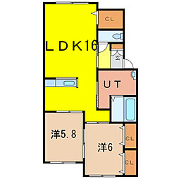 エレンシア大町B棟[2階]の間取り
