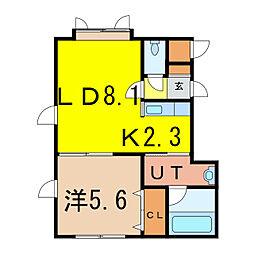 ルミュゼ川端 2階1LDKの間取り