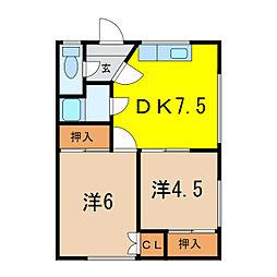 恵荘 1階2DKの間取り