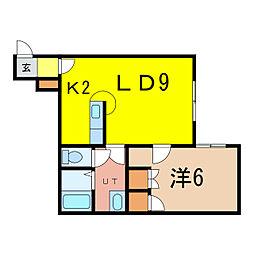 K'Sハイツ 2階1LDKの間取り