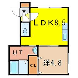 peaks view 1階1LDKの間取り