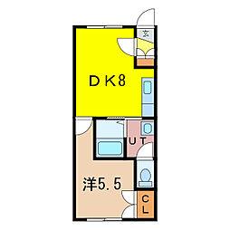 サニーコート 1階1DKの間取り