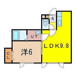 新築)豊岡5-1C棟 1階1LDKの間取り