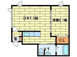 ミュンヘン大橋壱番館 2階1DKの間取り