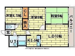 ロイヤルレインボー平岸B棟[3階]の間取り