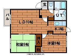 フォーチュナファミールB[2階]の間取り