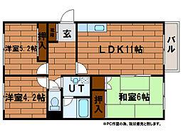 シャトー富士[1階]の間取り