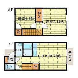 ニューブライト石山(1〜6号室) 1階2LDKの間取り
