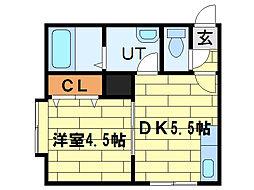 ステージ澄川 3階1DKの間取り