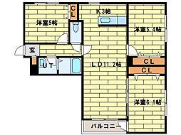 ブランシェL・A[2階]の間取り