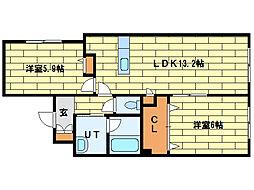 システムコート澄川[1階]の間取り