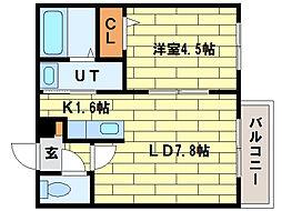 ル・ファール平岸B[3階]の間取り