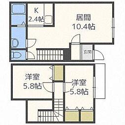 [テラスハウス] 北海道恵庭市美咲野3丁目 の賃貸【/】の間取り