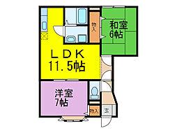 埼玉県加須市久下1丁目の賃貸アパートの間取り