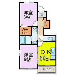 プリムローズ一・二番館[1階]の間取り