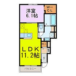 サンライト プレイスII 1階1LDKの間取り