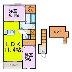 ブライト・K[2階]の間取り