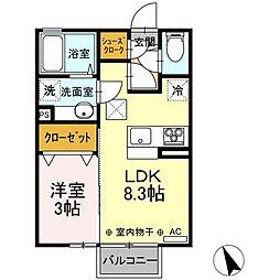 JR東北本線 古河駅 12.6kmの賃貸アパート 1階1LDKの間取り