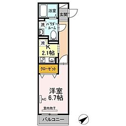 JR山陽本線 福山駅 バス11分 緑町公園前下車 徒歩4分の賃貸アパート 3階ワンルームの間取り