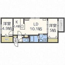 北海道札幌市中央区南二十条西7丁目の賃貸マンションの間取り